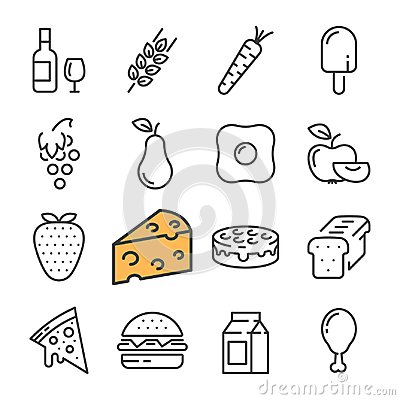 Free Black Line Food Icons Set. Includes Such Icons As Barrel Wine, Cheese, Wheat, Strawberry, Pizza. Royalty Free Stock Photo - 104281825