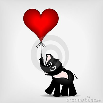Black little elephant with red heart - ballon