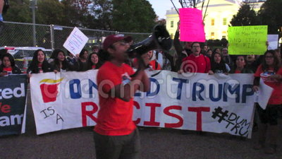 Black Lives Matter. Photo of latino protesters at the white house in washington dc on 11/10/16. These people are against president donald trump and fear