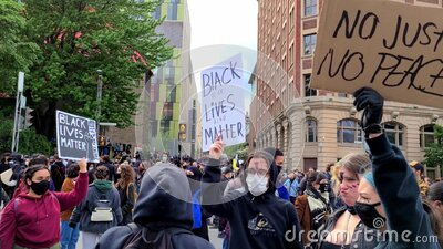 Black lives matter protest montreal stock footage
