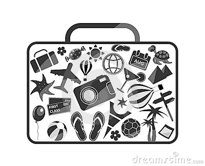 Black luggage composed from travel elements