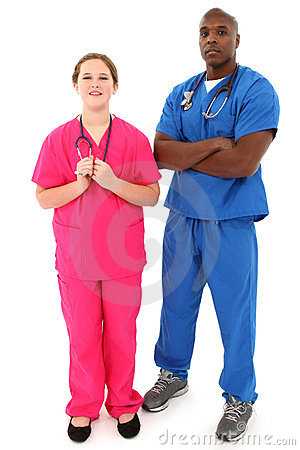 Black Male Doctor With Young White Female Nurse