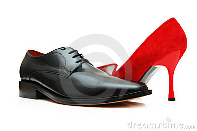 Black male shoe and red female
