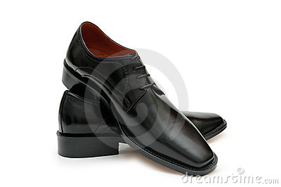Black male shoes isolated on t