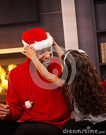 Black man as santa claus