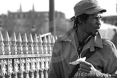 Black man and a barrier bw