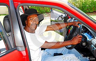 Black man in car