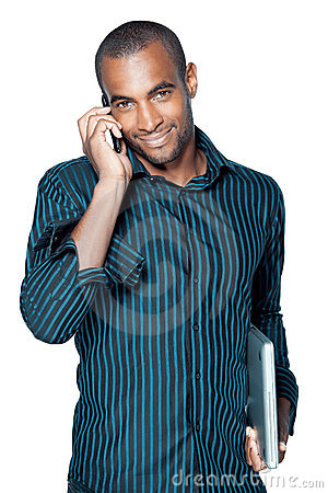 Black man with cellphone