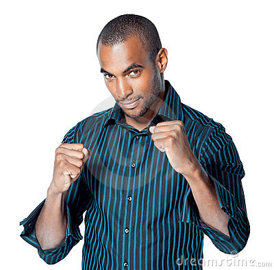 Black man with clenched fists