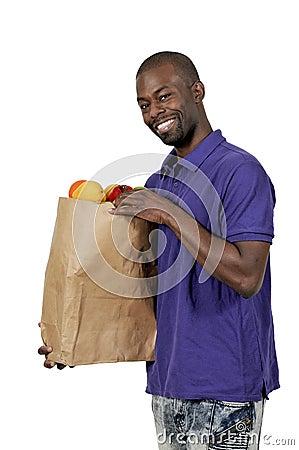 Free Black Man Grocery Shopping Stock Image - 81750291