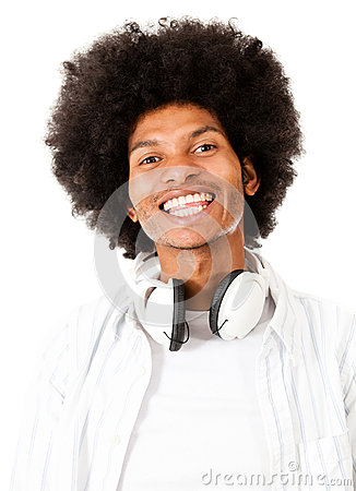 Black man with headphones