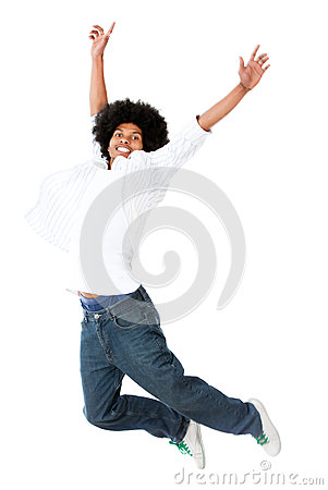 Black man jumping