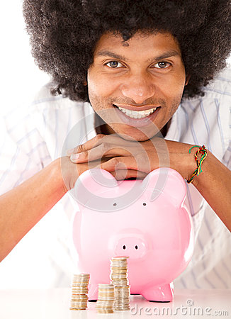 Black man with a piggybank