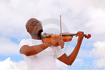 Black man playing violin