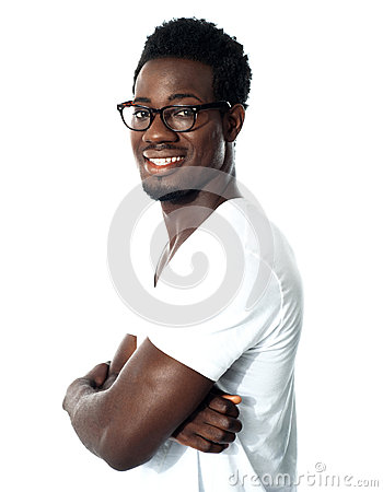 Black man posing with crossed arms