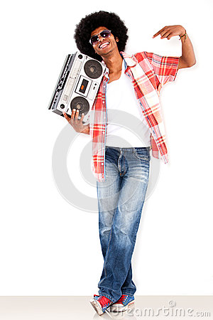 Black man with a radio