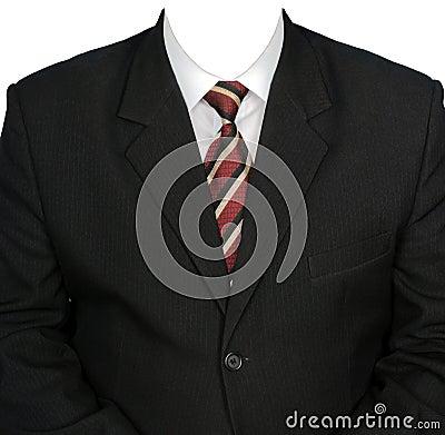 Black man s jacket and white shirt.