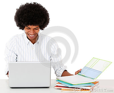 Black man studying online