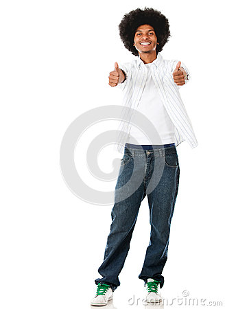 Black man with thumbs up