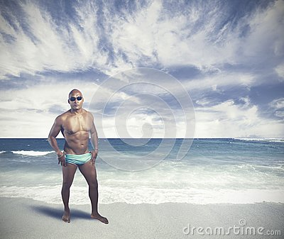 A black man on tropical beach