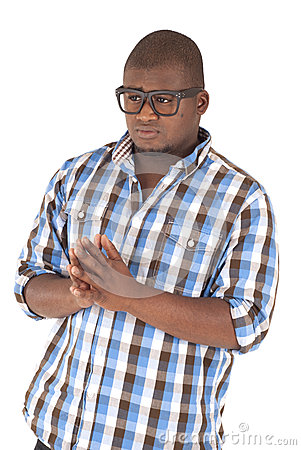 Black man wearing plaid shirt and glasses