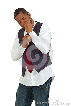 Black man on white background