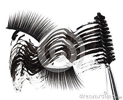Black mascara stroke, brush and false eyelashes