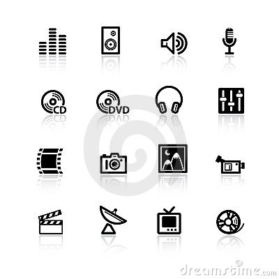 Free Black Media Icons Stock Photography - 2764832