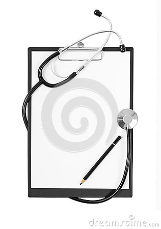 Black medical Clipboard with a Stethoscope