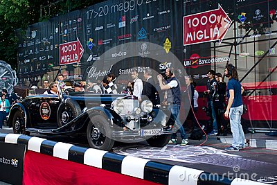 Black Mercedes 500K at start of 2012 1000 Miglia Editorial Stock Image
