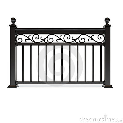 Black metal railing with pattern