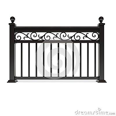 Black metal railing with pattern
