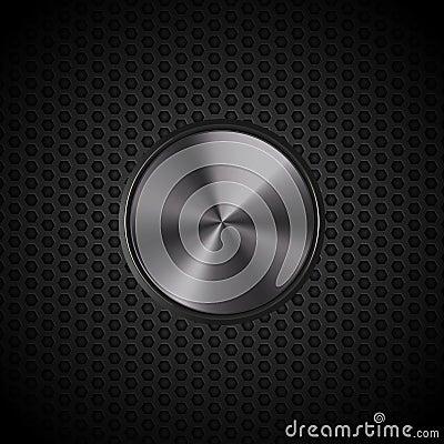 Black metallic button on mesh
