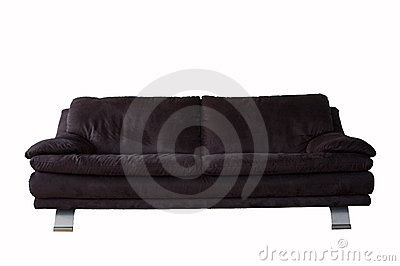Black Microfibre Couch Isolated on White