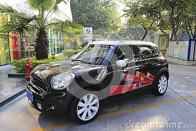 Black mini cooper in the morning Editorial Image
