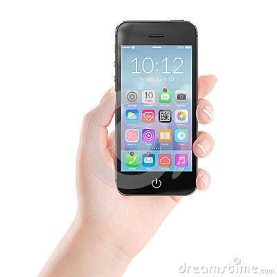 Free Black Mobile Smart Phone With Colorful Application Icons On The Royalty Free Stock Photography - 42256487