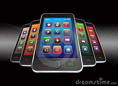 Black mobile smart phones