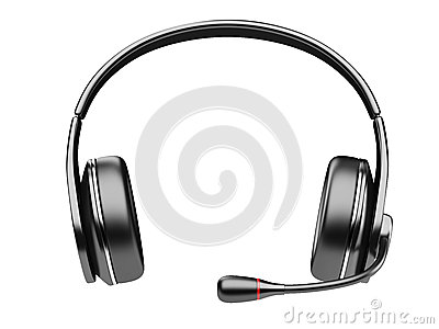 Black modern headphones with microphone