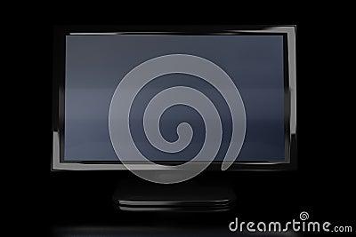 Black monitor in the dark