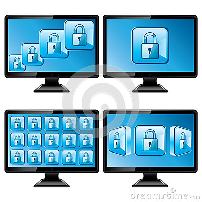 Black monitors with protect screen isolated