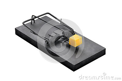 A black mouse trap isolated on white