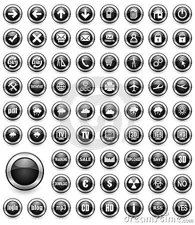 Black multimedia buttons set
