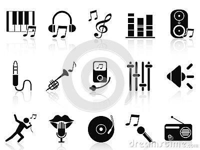 Black music audio icons set
