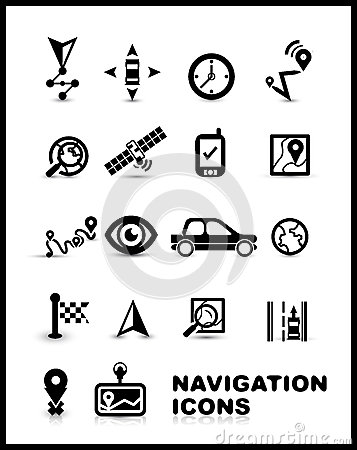 Black navigation icon set