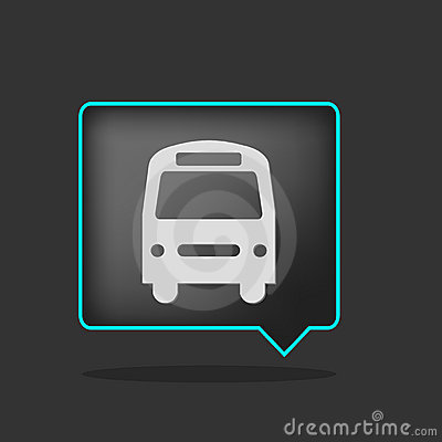 Black neon bus icon