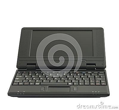 Black netbook on white background
