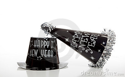 Black new year s eve hat on white