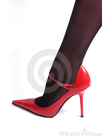 Free Black Nylons And Red Shoe Royalty Free Stock Images - 1558559