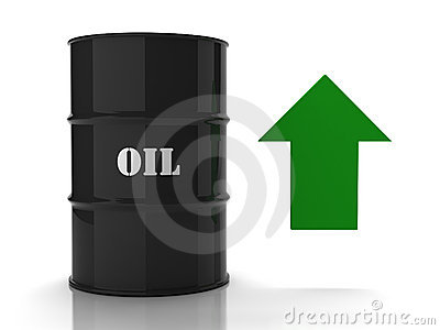 Black oil barrel with green upwards arrow