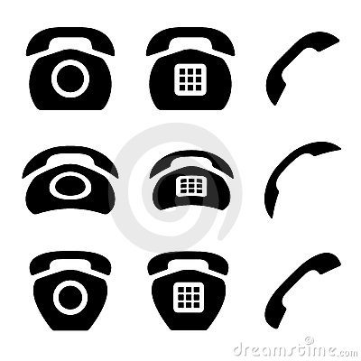 Black old phone and receiver icons